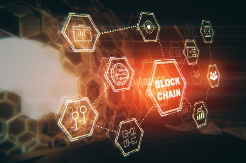Side view of block chain hologram on blurry pattern background. Interface concept. 3D Rendering